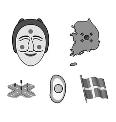 a map of the state with a flag a korean mask a vector image