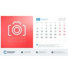 August 2018 desk calendar design template with vector