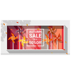 Autumn sale window display vector