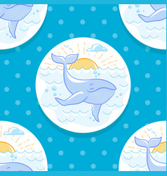 Background with a whale in the sea vector