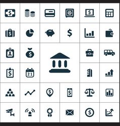 bank icons universal set vector image