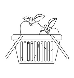 basket shopping with apples fruits in monochrome vector image