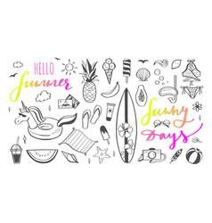 big set summer design doodle elements vector image
