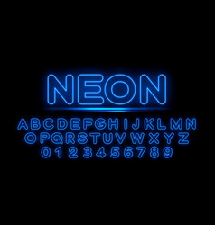 blue neon letters of the english alphabet vector image