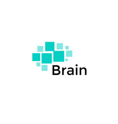 Brain abstract icon squares shapes geometric vector