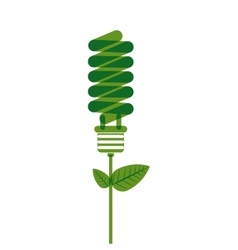bulb fluorecent with plant stem and leaves vector image