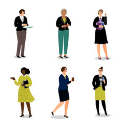 businesswomen with phones and papers vector image