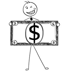 cartoon of happy smiling businessman holding vector image