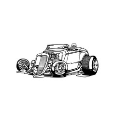 classic retro hot-rod cars isolated on vector image