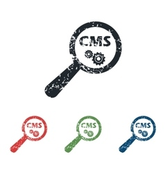 CMS search grunge icon set vector