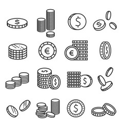 coins metal money financial symbol in stacks vector image