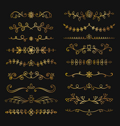 Collection of golden flourish text dividers vector