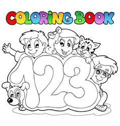 coloring book school numbers vector image