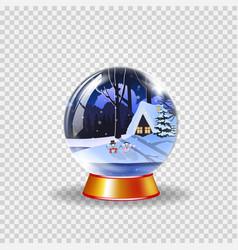crystal snow globe of winter snowy night vector image