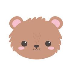 cute bear little face animal cartoon isolated vector image