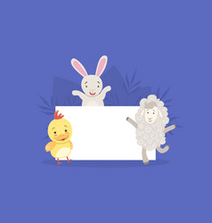 cute farm animals holding empty banner bunny vector image
