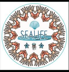 Cute ocean life set cartoon vector
