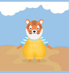 Cute tiger with clothes character vector