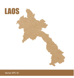 detailed map of laos cut out of craft paper vector image