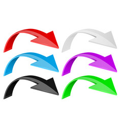 down arrows colored 3d icons set vector image