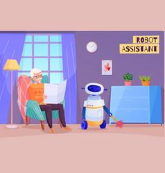 Elderly man robot helper vector
