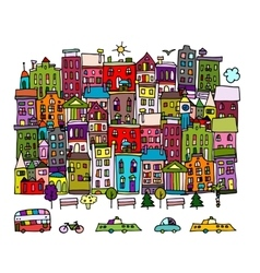 European city street sketch for your design vector image