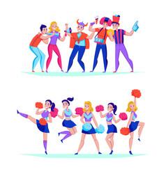 fans cheering horizontal sets vector image