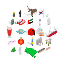 far east icons set isometric style vector image