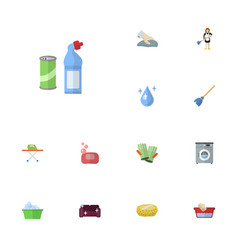 Flat icons housekeeping laundry aqua and other vector