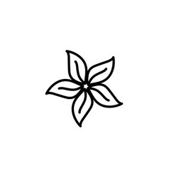 flower line icon in flat style for app ui vector image