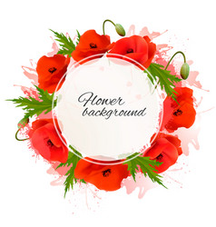 flower nature background with red poppies vector image