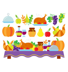food for thanksgiving dinner on holiday table vector image