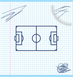 football field or soccer field line sketch icon vector image