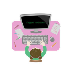 Girl sitting at her desk and coding with her vector