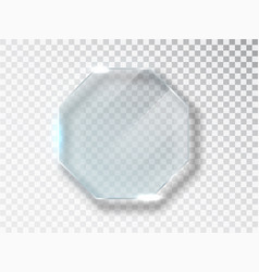 glass octagon badge with a place for inscriptions vector image
