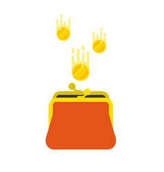 gold coins dropping into a purse vector image