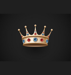 Gold royal crown with red and blue diamand vector