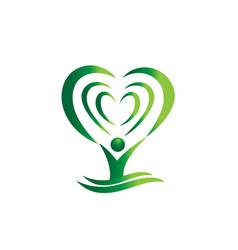 Green tree heart abstract vector