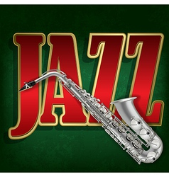 Grunge green background with saxophone and word vector