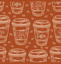 hand drawn coffee cups seamless pattern colorful vector image