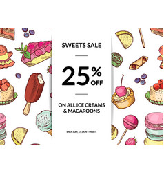 hand drawn sweets sale background template vector image vector image