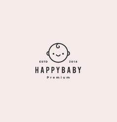 happy batoddler babies logo hipster retro vector image