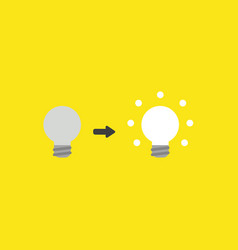 icon concept of grey and glowing light bulbs on vector image