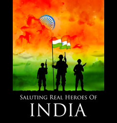 indian soldier standing on tricolor flag of india vector image