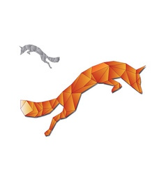 Jumping fox made triangles vector