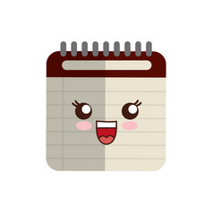 Kawaii notebook icon vector
