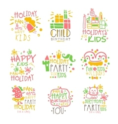 Kids Birthday Party Entertainment Promo Signs vector