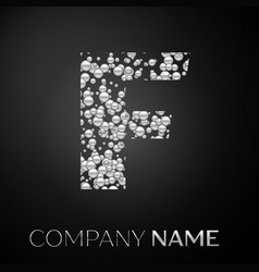 letter f logo silver dots alphabet logotype vector image