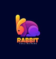 Logo rabbit gradient colorful style vector