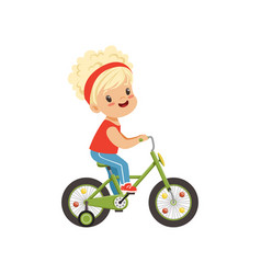 Lovely little girl riding bike kids physical vector